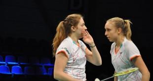 Maiken Fruergaard og Sara Thygesen spiller kvartfinale for OBK. Foto @ Annette Vollertzen