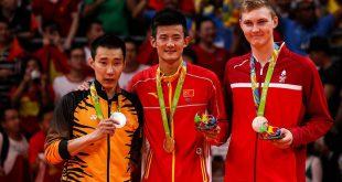 Lee Chong Wei, Cheb Long og Viktor Axelsen. Foto @ Shi Tang