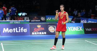 Carolina Marin havde forinden dagens kamp spillet 95 minutter i går. Her ses hun under semifinalen mod Akane Yamaguchi. Foto@Badmintonbladet